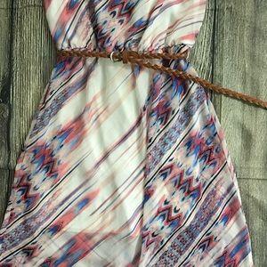 HeartSoul Dresses - Pink Blue Chiffon Long Maxi Dress S Small